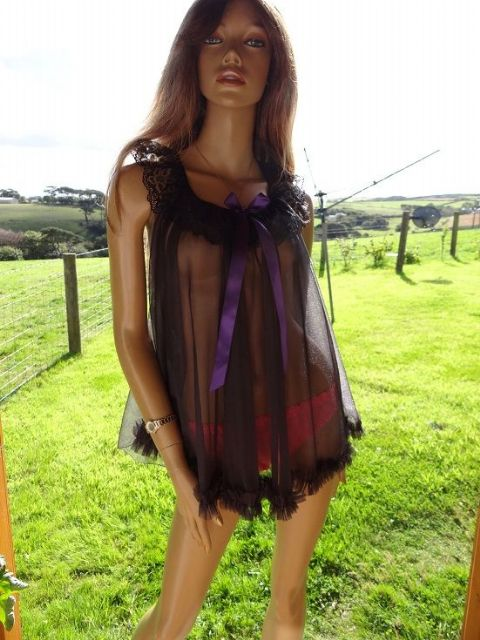 ADORABLE HANDMADE ULTRA SEE THRU NYLON BABYDOLL NIGHTIE